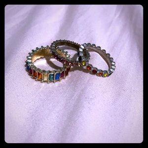 3 rainbow fashion rings